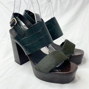Topshop Platform Green Block Heels